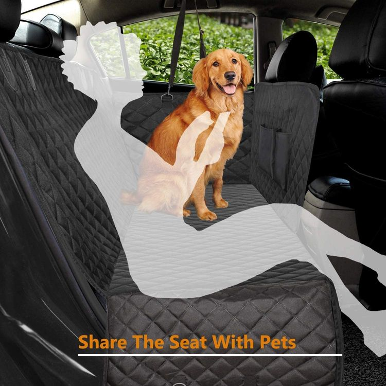 Vailge 100% Waterproof Dog Car Seat Covers, Dog Seat Cover with Side Flaps, Pet Seat Cover for Back Seat - Black, Hammock Convertible