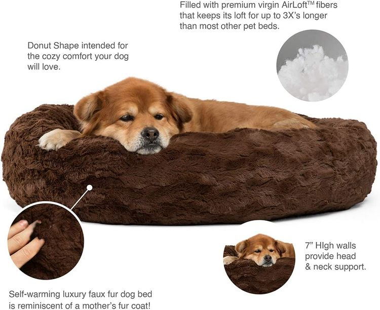 """Best Friends by Sheri The Original Calming Donut Cat and Dog Bed in Lux Fur, Machine Washable Removable Zipper Cover, Orthopedic Relief, for Pets up to 45 lbs. - Medium 30""""X30"""" in Dark Chocolate"""