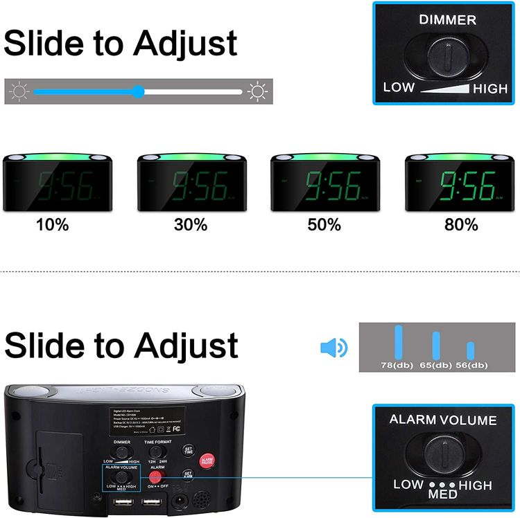 Digital Alarm Clock for Bedrooms, Large LED Display with Dimmer, 7 Color Night Light, USB Chargers, Easy to Set Plug-in Loud Alarm Clocks with Battery Backup for Heavy Sleeper Kid Senior Teen Boy Girl