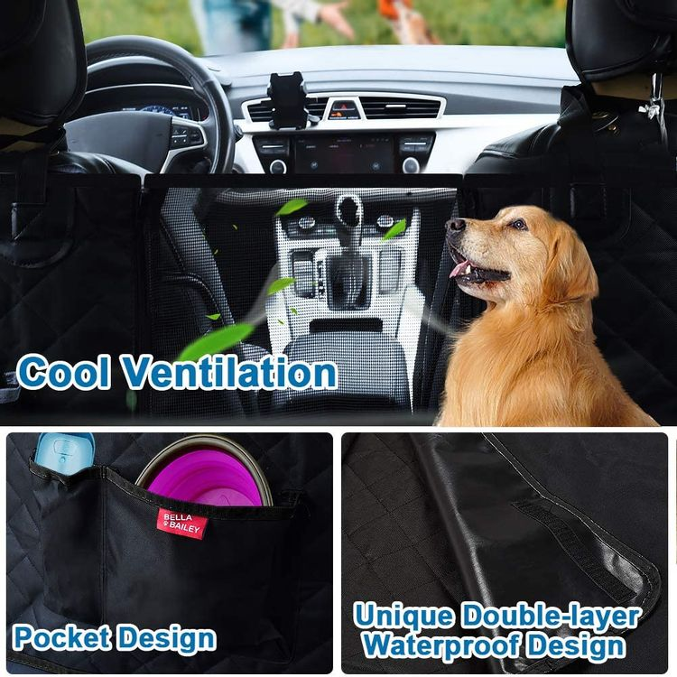 bellabailey Dog Car Seat Cover Waterproof with Mesh Window, 1 Removable Pad, 2 Dog Selt Belts Machine Washable - Dog Back Seat Cover Scratch Proof Nonslip Hammock for Cars/Trucks/SUVs