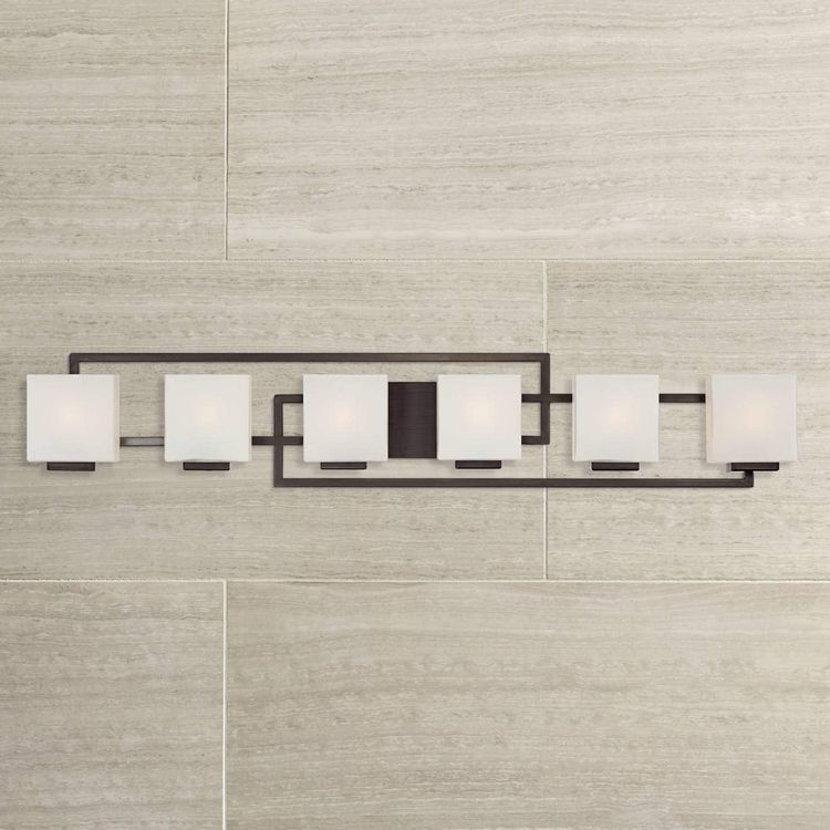 """Lighting on The Square Modern Wall Mount Light Bronze Metal 45"""" Wide Opal Glass Shades 6-Light Vanity Fixture for Bathroom Over Mirror House Home Room Decor - Possini Euro Design"""