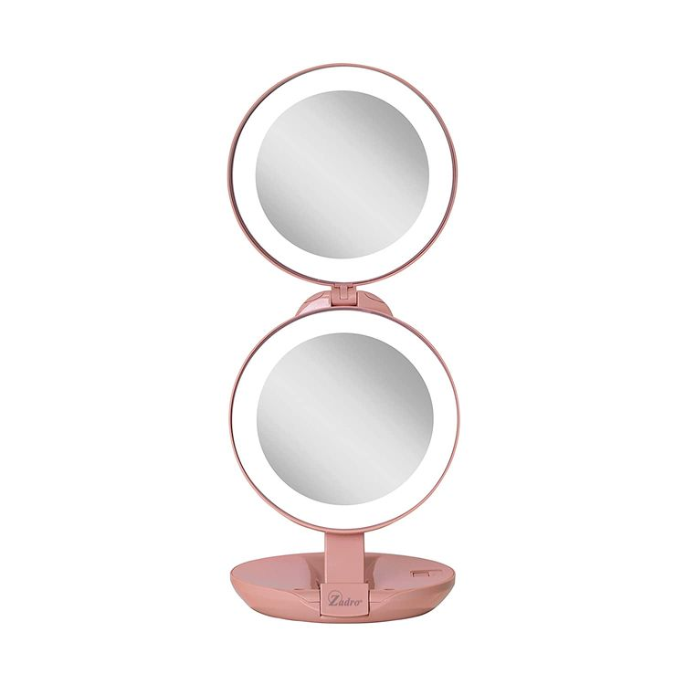 Zadro Dual LED Lighted 10X/1X Magnification Travel Compact Lightweight Portable Beauty Makeup Mirror, Blush