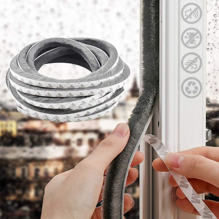 """16.4 Ft Self Adhesive Weather Stripping for Window and Door Stronger Stickiness, Seal Strip Weatherstrip for Sliding Glass Doors,0.35""""0.35"""" Gray (0.35 '' 0.35 '' 16.4ft)"""