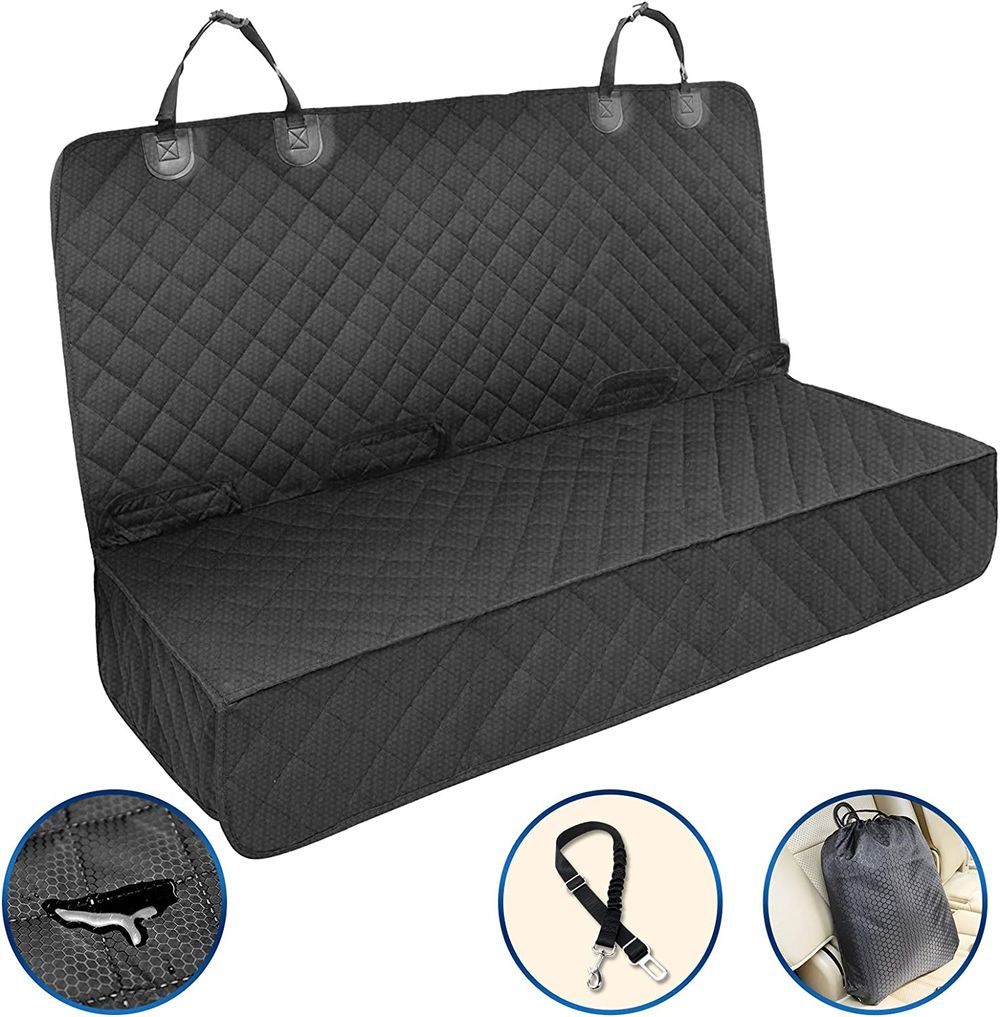 Petural Dog Car Seat Covers for Back Seat - Waterproof Dog Back Seat Cover for Sedan, Truck and SUV - Pet Car Seat Covers Protector with Seat Belt - Tear Resistant - Pet Back Seat for Dogs and Kids
