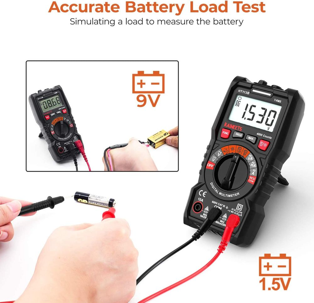 KAIWEETS Digital Auto-Ranging Multimeter, TRMS 4000 Counts Multimeter Ohmmeter Voltmeter, Auto-Ranging Digital Real-Time Diode 1.5v/9v Accurate Battery Voltage Tester with NCV Function