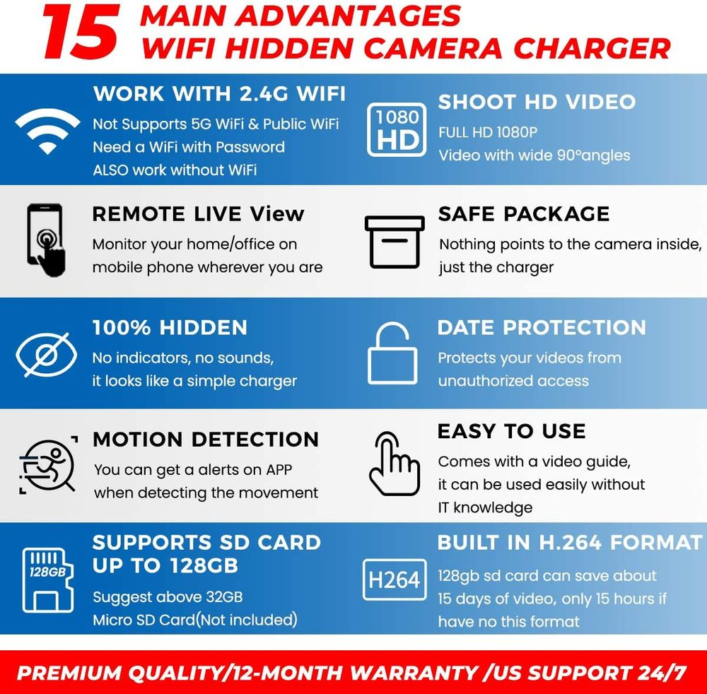 Spy Camera Wireless Hidden WiFi Camera with Remote Viewing, 2021 Newest Version 1080P HD Nanny Cam/Security Camera Indoor Video Recorder Motion Activated, Support iOS/Android, No Audio