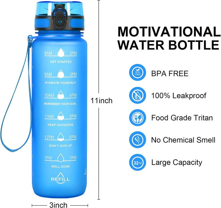 Favofit Water Bottle with Time Marker, 32 oz Motivational Water Bottle with Strainer & Cleaning Brush, Reusable & BPA Free Tritan Water Bottle for Sports & Fitness