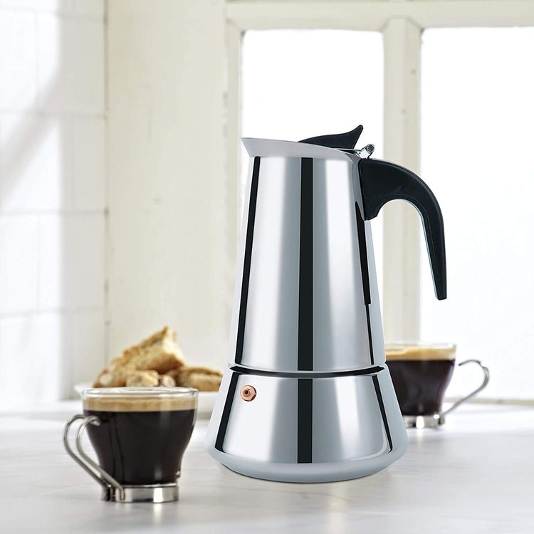 FCUS Stovetop Espresso Maker, Moka Pot, 2 Cup Percolator Italian Coffee Maker, Classic Cafe Maker, Stainless Steel, Suitable For Induction Cookers (Silver, 2 Cup)