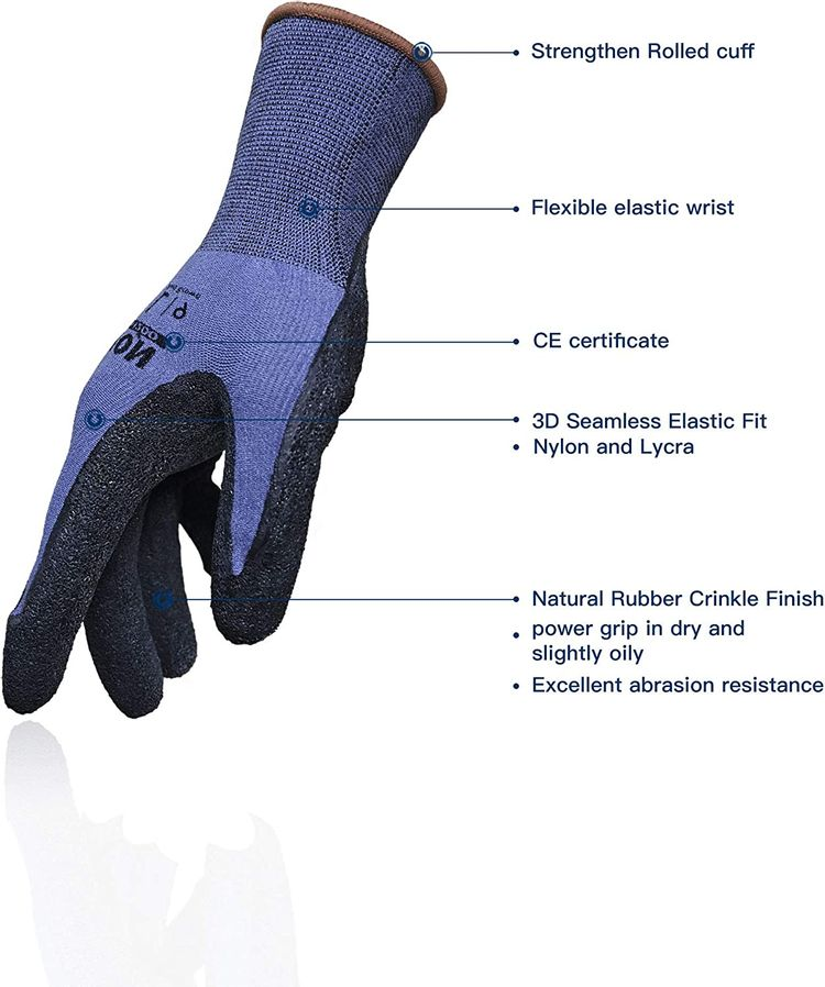 LANON 3 Pairs Safety Work Gloves, 3D Seamless Elastic Fit, Nylon with Lycra Liner, Natural Rubber Crinkle Coating, Size 8