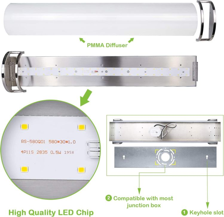 36 inch Vanity Light, Upgrated Dimmable Bathroom Lighting Fixtures with Brush Nickel Finished, 30W (200 watt Equivalent) Integrated LED Wall Mount Lights, ETL Listed