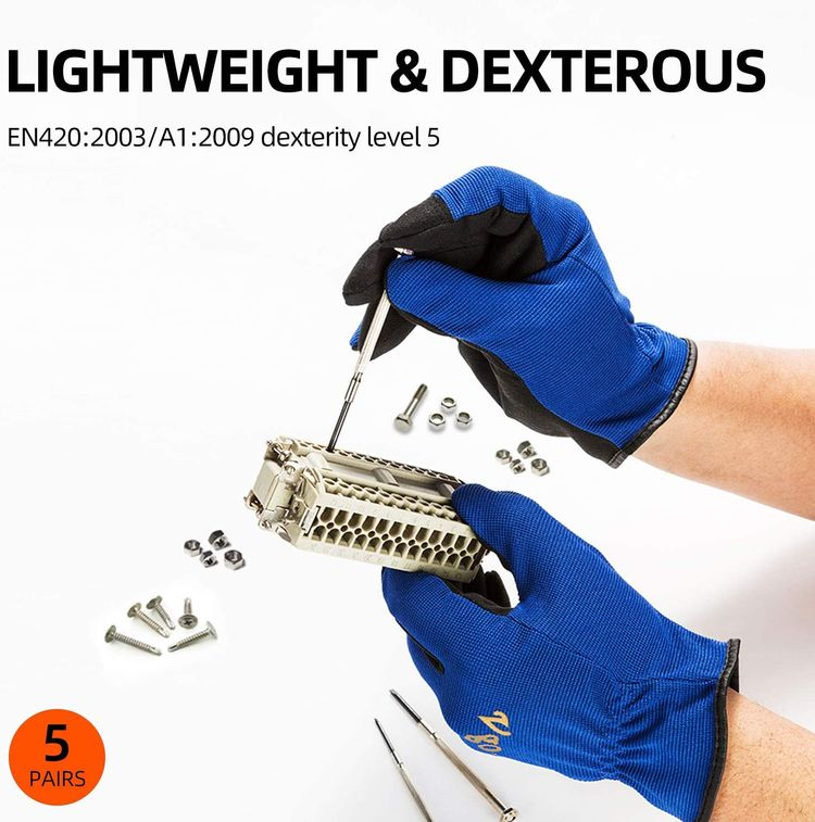 Vgo 5-Pairs Light-Duty Artificial Leather Work Gloves, Multi-Purpose & 360° Breathable Gloves, High Dexterity, Abrasion Resistant, Superior Colorfastness (Size S, 5 Colors, AL8736)