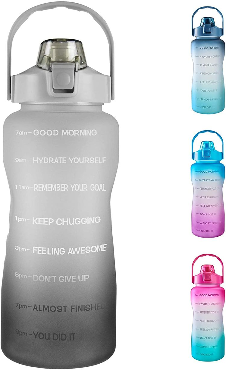 64oz Leakproof Free Drinking Water Bottle with Motivational Time Marker BPA Free for Fitness, Gym and Outdoor Sports (Black/Gray Gradient)