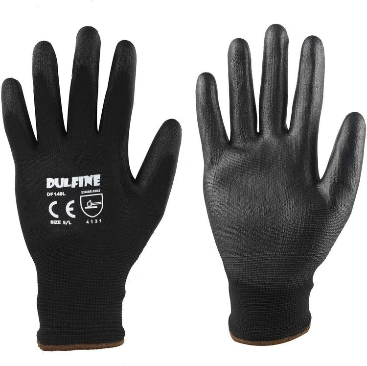 Ultra-Thin PU Coated Work Gloves-12 Pairs,Excellent Grip,Nylon Shell Black Polyurethane Coated Safety Work Gloves, Knit Wrist Cuff,Ideal for Light Duty Work. (Small)