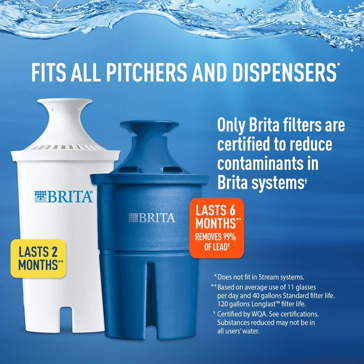 Brita Standard Replacement Filters for Pitchers and Dispensers, 3 Count, White