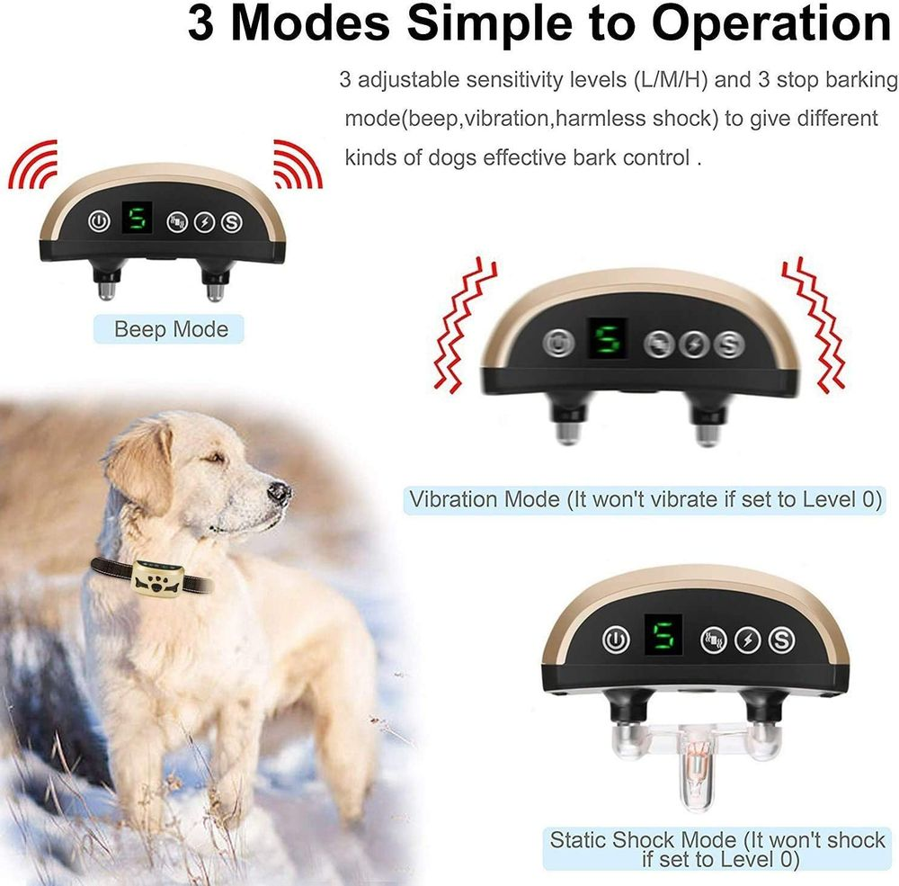 Dog Bark Collar-7 Adjustable Sensitivity and Intensity Levels-Dual Anti-Barking Modes Rechargeable/Rainproof/Reflective -No Barking Control Dog Shock Collar for Small Medium Large Dogs
