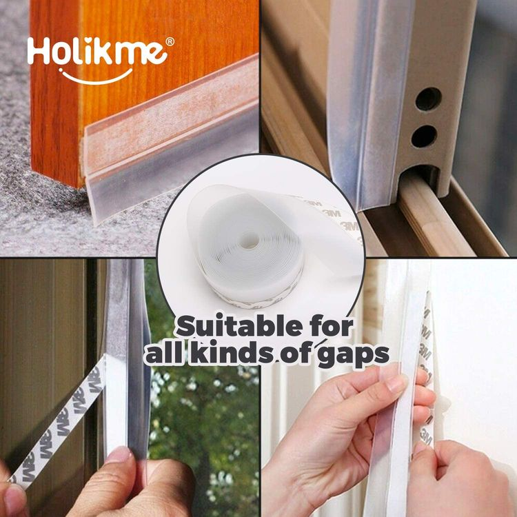 """Holikme 1"""" W-33 Feet Weather Stripping Silicone Door Seal Strip Door,Silicone Sealing Sticker Adhesive for Doors,Suitable for Windows, Doors, etc,Transparent"""