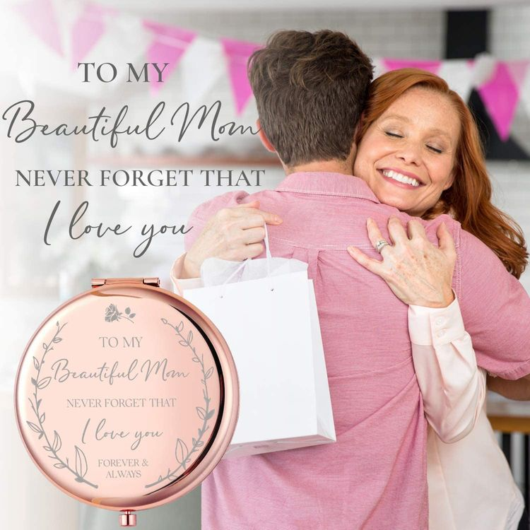 Mom Birthday Gifts I 'I Love You' Rose Gold Compact Mirror I Gifts for Mom from Daughter or Son I from Daughter I Birthday Gifts for Mom I Beautiful Mom Gifts Sentimental