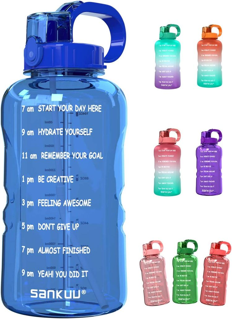 SANKUU Large 1 Gallon/128oz Gallon Water Bottle Motivational with Time Marker & Straw, Leakproof Water Jug Ensure You Drink Daily Water Throughout The Fitness Day (Deep Blue)