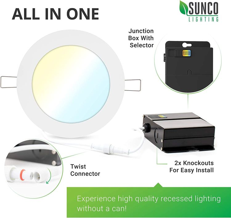 Sunco Lighting 24 Pack 6 Inch Slim LED Downlight with Junction Box, Select from 5 Colors (2700k/3000k/3500k/4000k/5000k), 14W=100W, 850 LM, Dimmable, Selectable Recessed Fixture, IC Rated - UL