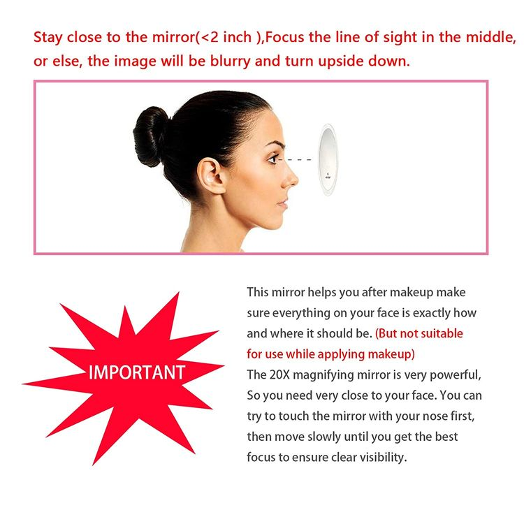 20X Magnifying Mirror with 3 Suction Cups for Easy Mounting - Very Powerful Magnification Use for Check Makeup Detail - 4 Inches Mirror Round Come with 1PC Storage Bag