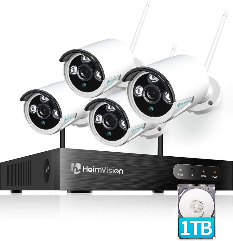 HeimVision HM241A Wireless Security Camera System with 1TB Hard Drive, 8 Channel NVR 4Pcs 1080P Home WiFi Security Camera Outdoor with Night Vision, Waterproof, Motion Alert, Remote Access