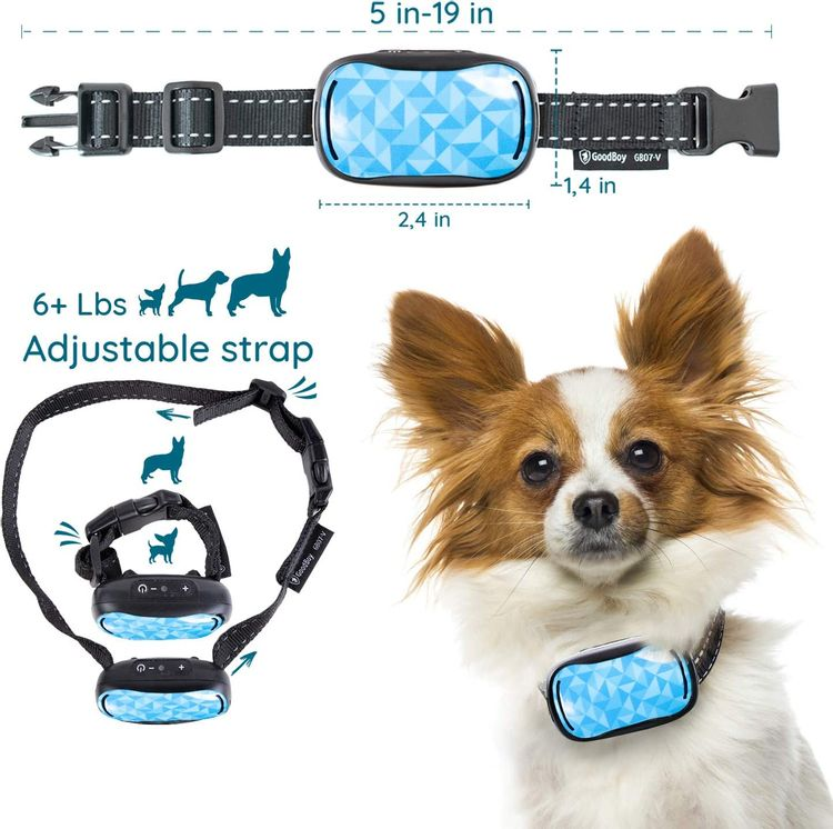 GoodBoy Small Rechargeable Dog Bark Collar for Tiny to Medium Dogs Weatherproof and Vibrating Anti Bark Training Device That is Smallest & Most Safe On  - No Shock No Spiky Prongs! (6+ lbs)