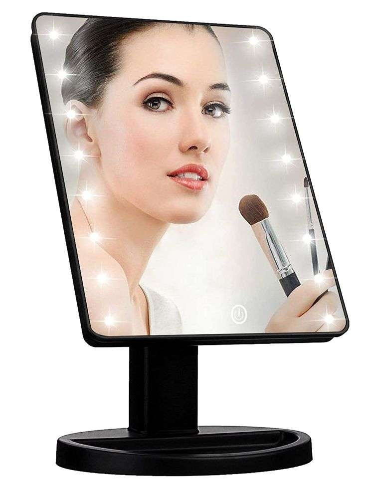 Lighted Vanity Makeup Mirror with 16 Led Lights 180 Degree Free Rotation Touch Screen Adjusted Brightness Battery USB Dual Supply Bathroom Beauty Mirror (Black)