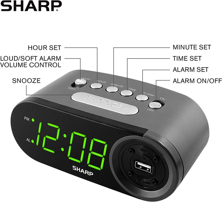 SHARP Digital Easy to Read Alarm Clock with 2 AMP High-Speed USB Charging Power Port - Charge Your Phone, Tablet with a high Speed Charge! Simple, Easy to Use Operation, Black – Green LEDs