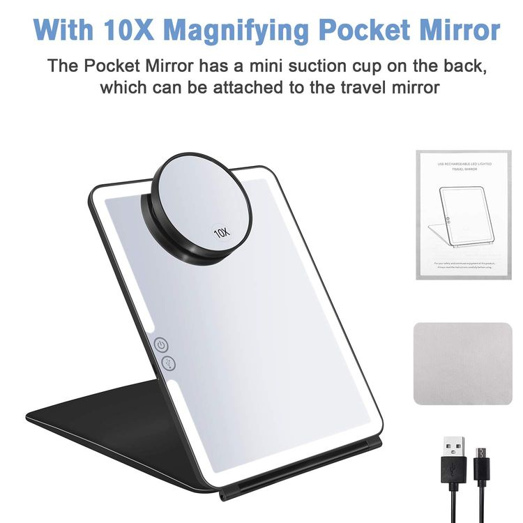 KEDSUM Rechargeable Lighted Makeup Mirror with Cover, LED Travel Mirror with Lights, Compact Vanity Mirror with Touch Screen Dimming, with a Magnification Pocket Spot Mirror