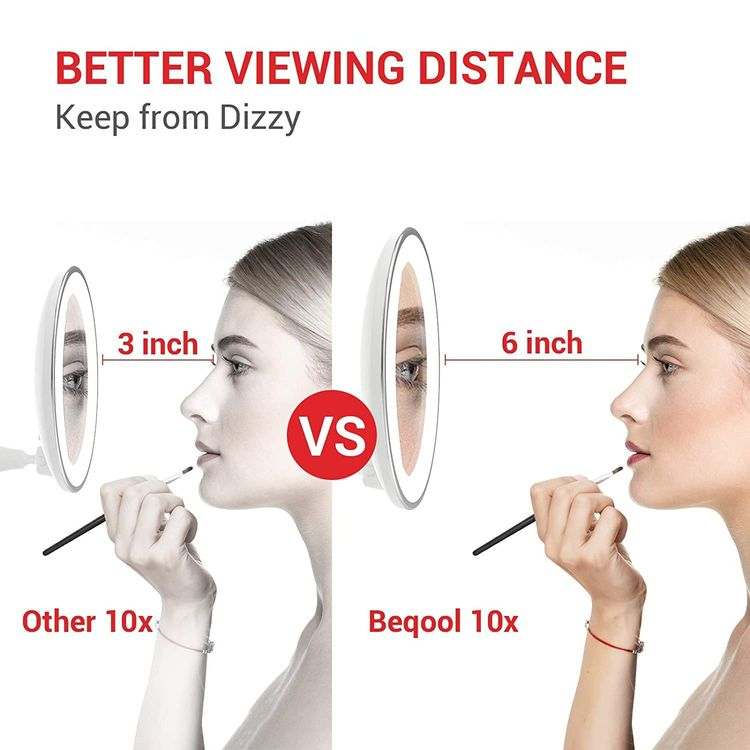 10x Magnifying Makeup Mirror with Lights, 360°Swivel, 3 Colors Adjustable, Screen Touch Button, Portable, with Reusable Bottom Sticker, for Desk/Bathroom/Wall (Gold)