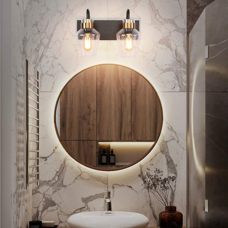 PRESDE Vintage Bathroom Vanity 2 Light Fixtures Over Mirror Wall Sconce Lighting Black Brushed Bronze Base with Bubble Clear Glass Shades