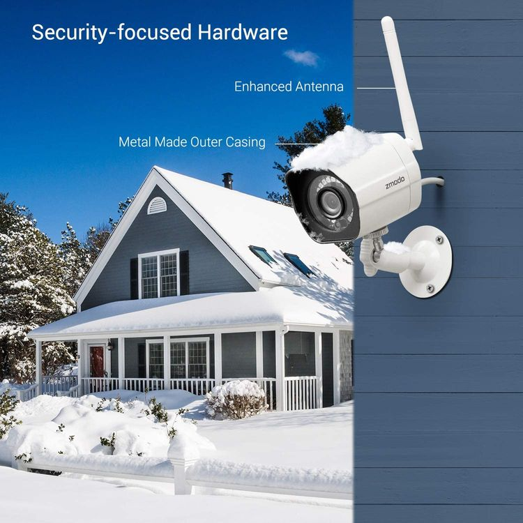 Zmodo 1080p Full HD Outdoor Wireless Security Camera System, Smart Home Indoor Outdoor WiFi IP Camera with Night Vision, Compatible with Alexa