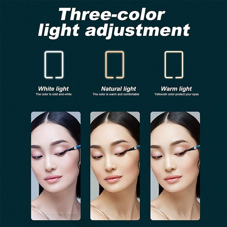 LED Lighted Compact Travel Mirror, 0.3-Inch Ultra-Thin Adjustable Colour Light, Portable Rechargeable Illuminated Mirror Perfect Travel Makeup Mirror for Women,Travel Mirror