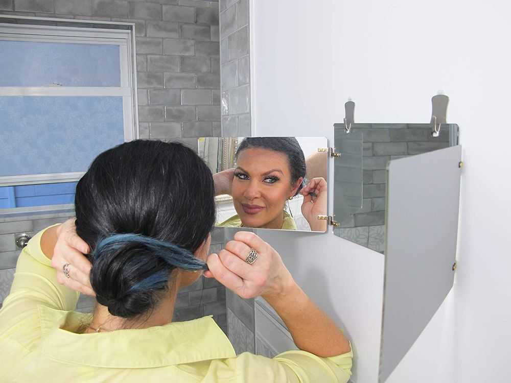 GAT Trifold Mirror - 3 Way Mirror Used for Self Hair Cutting, Fogless Shaving in The Shower, Makeup, Hair Styling and Coloring. The Perfect Travel Mirror. G.A.T. - Go Anywhere Tri fold by Viribus.
