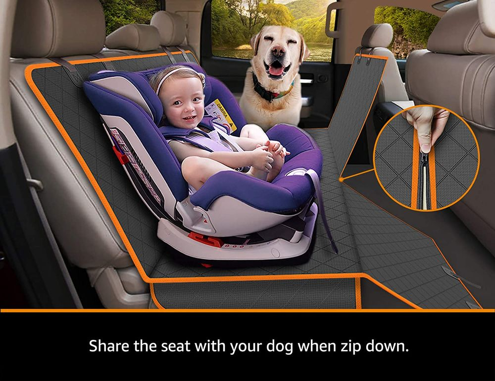 iBuddy Dog Truck Seat Covers for Back Seat Waterproof Truck Dog Hammock with Split Zipper Scratch Proof XL Dog Seat Cover Protector for Trucks and Large SUV and Car