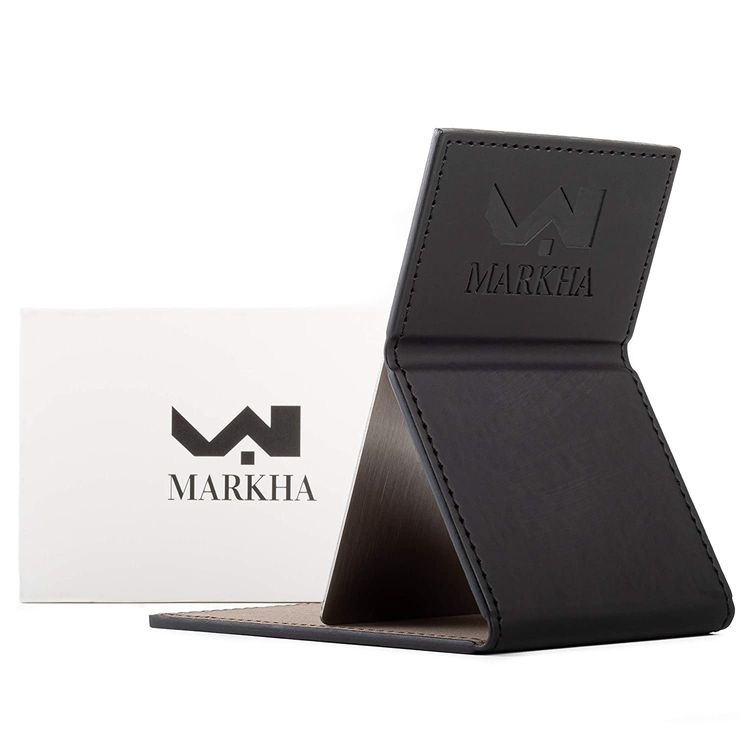 Markha Pocket Mirror for men women, Unbreakable mirror, Stainless steel Compact mirror, Mini mirror Folding Travel mirror, Personal Makeup mirrors, Small Mirror with PU leather case cover (Black)