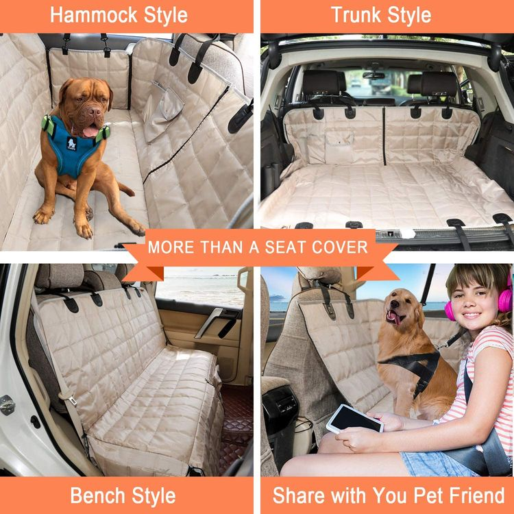 Bark Lover Deluxe Dog Seat Cover for Back Seat, More Durable Waterproof Hammock Protector High Heat Resistant and Nonslip BackSeats Cover, Durable Zippered Side Flaps Ensure Dog Travel Safety