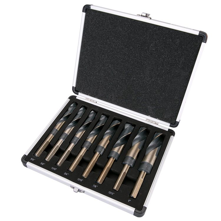 """Best Choice 8-Piece 1/2"""" Shank Silver and Deming Drill Bit Set in Aluminum Carry Case, High Speed Steel (HSS)   SAE Size 9/16"""" - 1"""" by 1/16th Increment"""