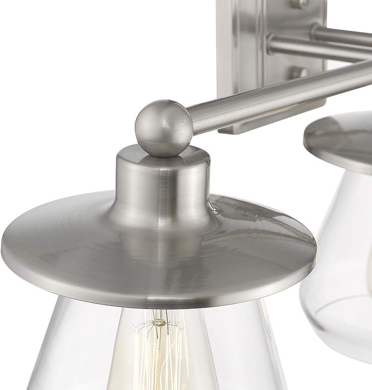 Beionxii Bathroom Vanity Light Fixtures   2-Light Brushed Nickel Hallway Wall Sconce with Clear Glass BXS-002N