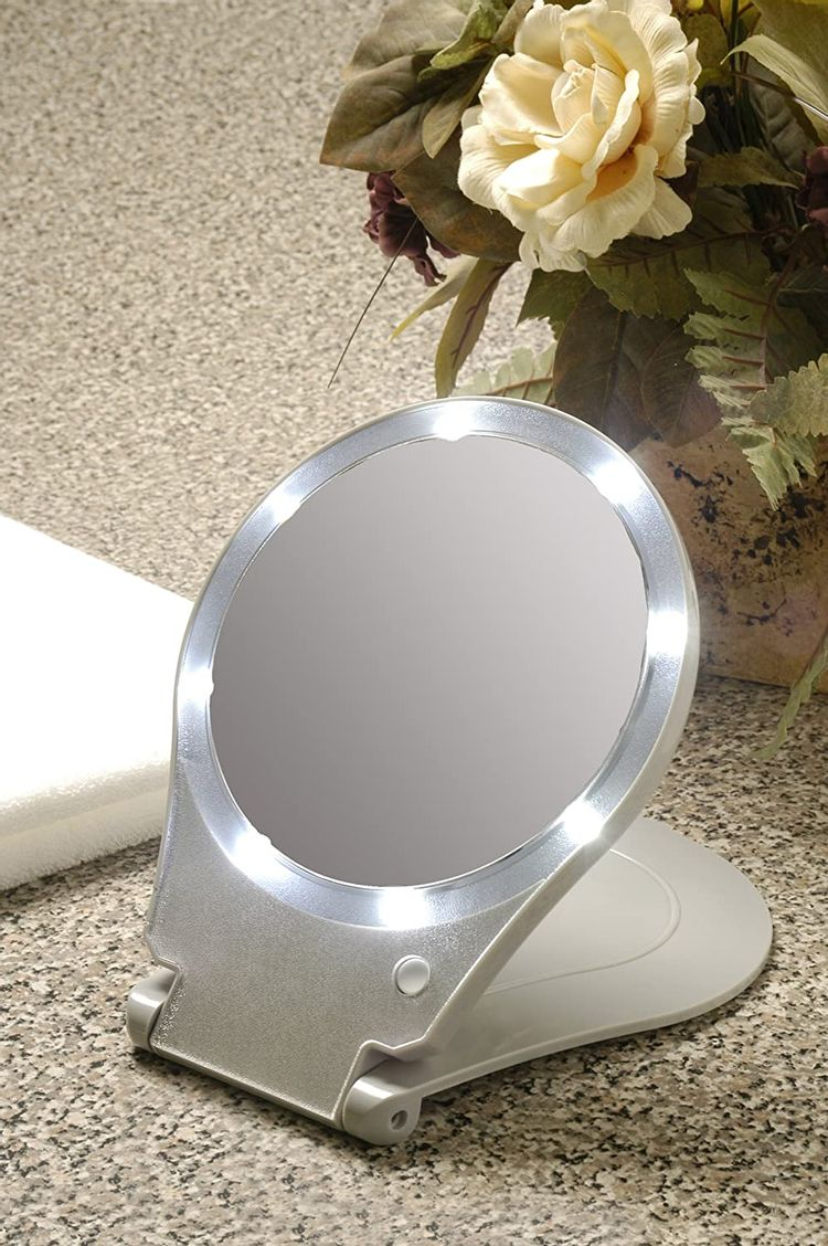 Floxite LED Lighted Travel and Home 10x Magnifying Mirror