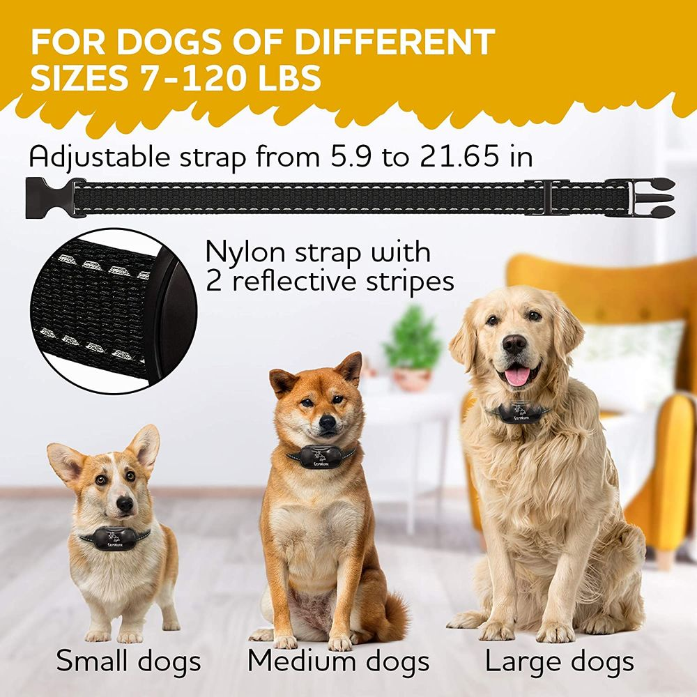 STOPWOOFER Dog Bark Collar - No Shock, No Pain, Humane Barking Control Device for Small, Medium and Large Dogs - w/2 Vibration & Beep Modes -Training Collar with Automatic Modes to Control Dog
