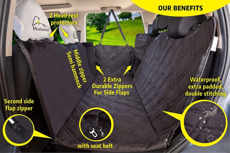 Meadowlark Dog Seat Covers Unique Design & Full Car Protection-Doors,Headrests & Backseat. Extra Durable Zippered Side Flap, Waterproof Pet Seat Cover + Seat Belt & 2 Headrest Protectors as a Gift