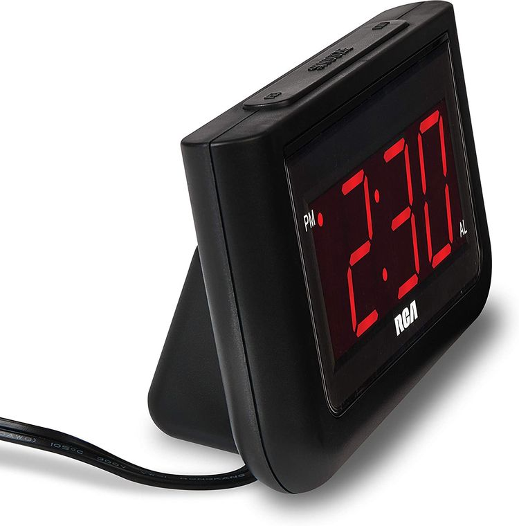 """RCA Digital Alarm Clock - Large 1.4"""" LED Display with Brightness Control and Repeating Snooze, AC Powered – Compact, Reliable, Easy to Use Black"""