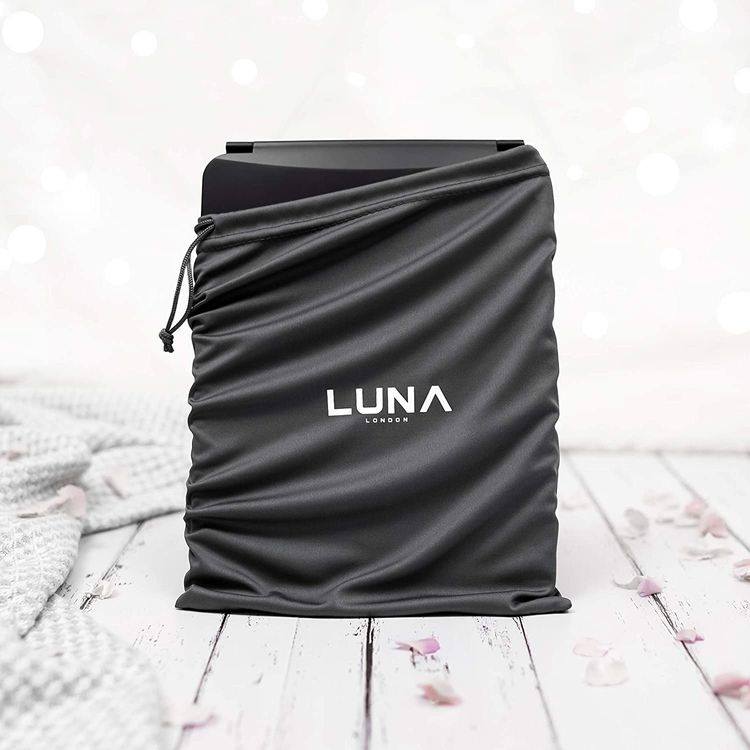 LUNA London Eclipse LED Lighted Travel Vanity Makeup Mirror | 3 Colour Light, Compact, Portable, Lighted, Rechargeable, Illuminated Mirror | Perfect for Travel, Makeup & Beauty Needs | Matte Black