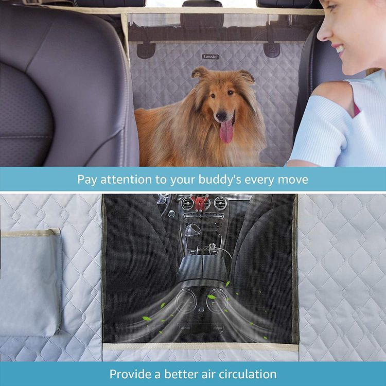 Lassie Dog Car Seat Covers for Back Seat 100% Waterproof with Mesh Visual Window Durable Scratchproof Nonslip Dog Car Hammock with Universal Size Fits for Cars, Trucks & SUVs