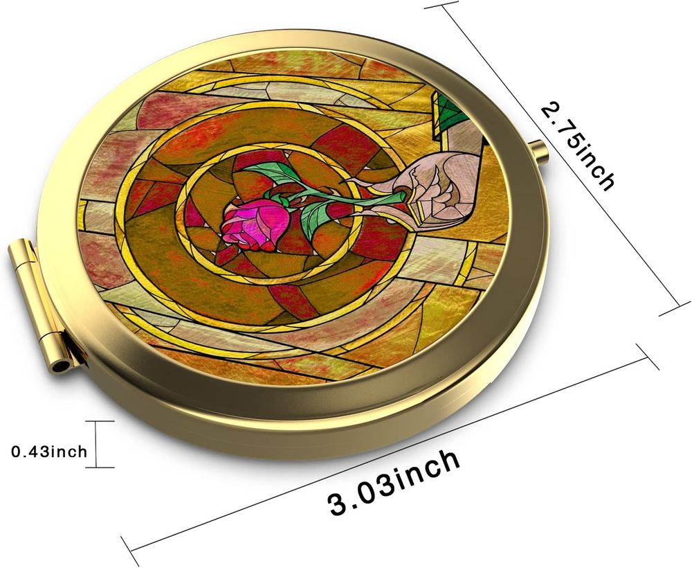 Dolopow Makeup Mirror Double Sided Round Compact Mirror Disney Beauty and the Beast Small Pocket Size for Purses and Travel, Elegant Handheld Makeup Mirror - Rose