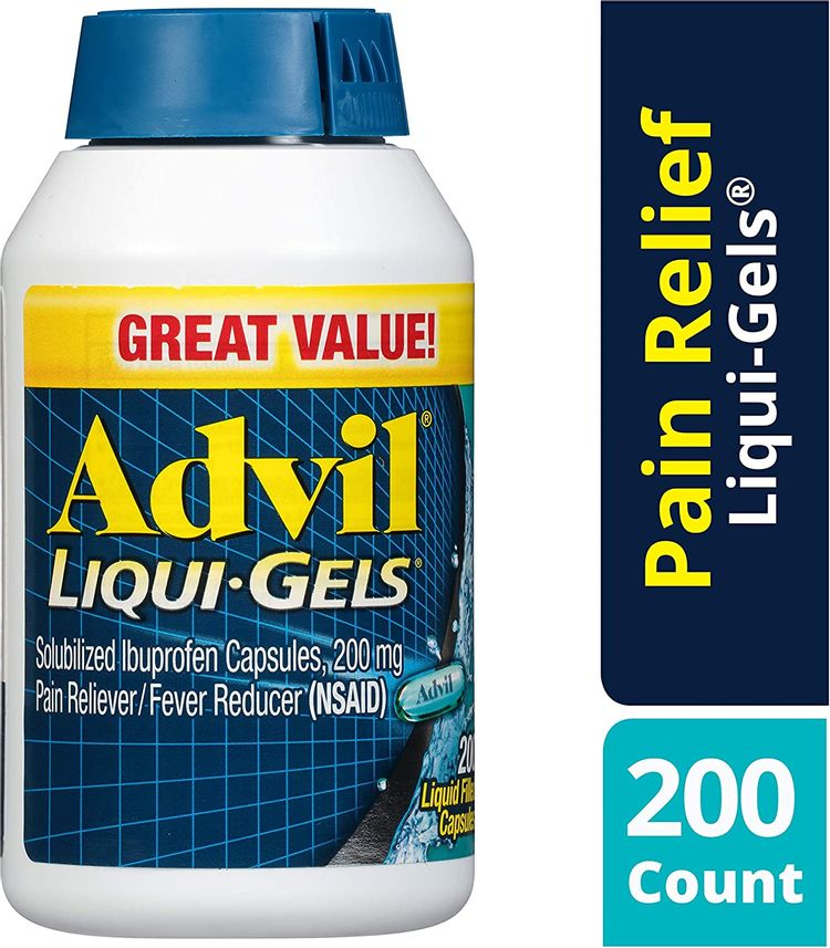 Advil Liqui-Gels (200 Count (Pack of 1)) Pain Reliever/Fever Reducer Liquid Filled Capsule, 200mg Ibuprofen, Temporary Pain Relief 2-Pack