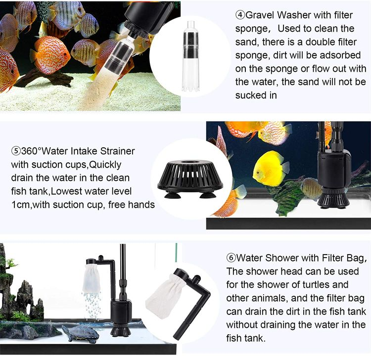 AQQA Aquarium Gravel Cleaner Siphon Kit,6 in 1 Electric Automatic Removable Vacuum Water Changer,Multifunction Wash Sand Suck The Stool Filter 110V/20W 320GPH