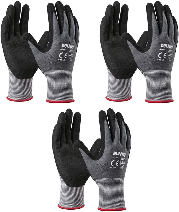 Safety Work Gloves MicroFoam Nitrile Coated-3 Pairs Pack,Seamless Knit Nylon Glove with Black Micro-Foam Nitrile Grip,Ideal for General Purpose,Automotive,Home Improvement,Painting(Medium)