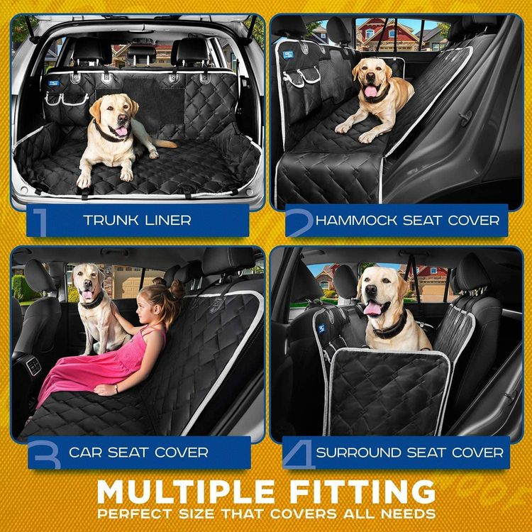 STALEX Dog Car Seat Cover - Dog Seat Cover for Back Seat, Non-Slip Waterproof Car Seat Covers for Dogs, Pet Seat Cover for Cars Back Seat Protector Dog Car Hammock with Mesh Window for SUVs, Trucks